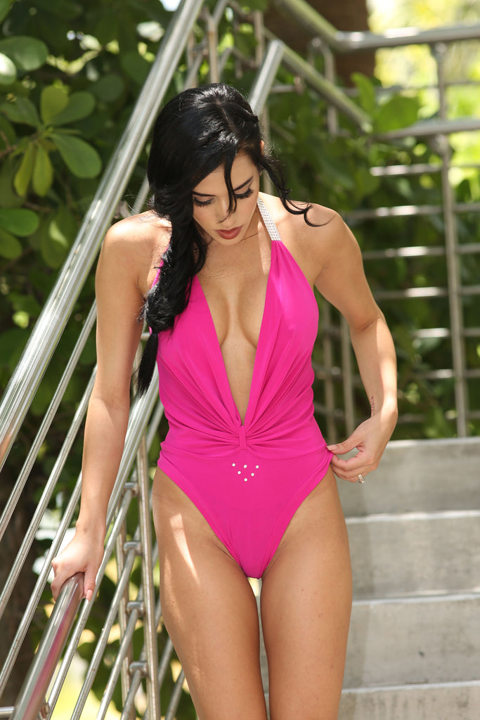 Sexy Hot Pink Bodysuit For Sassy Girl
