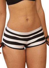 Cheeky White And Black Striped Tie Side Shorts- Sassy Assy
