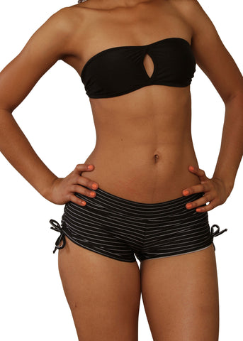 Cheeky Black And White Striped Tie Side Shorts- Sassy Assy