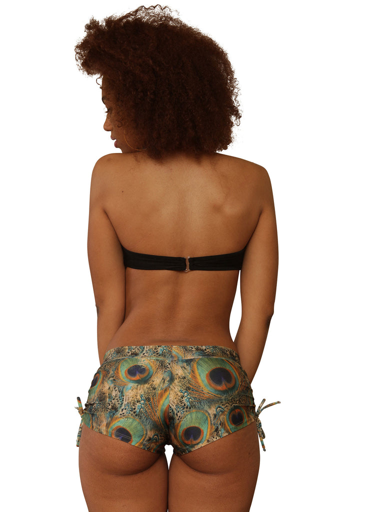 Cheeky Green Peacock Print Tie Side Shorts- Sassy Assy