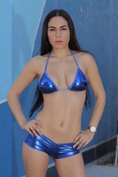 Metallic Blue Full Triangle Top Stripper Clothing
