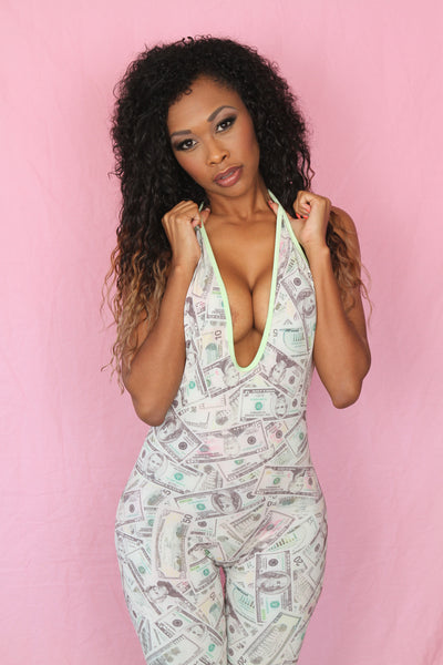 Sexy Clubwear Money Print Jumpsuit