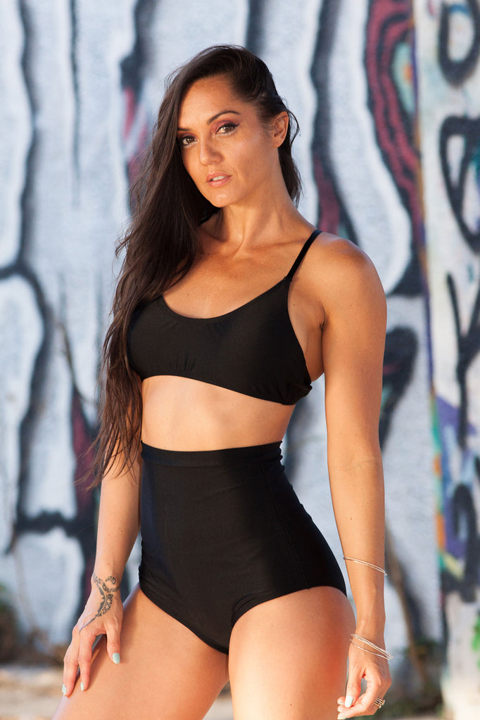 Black High Waist Shorts Rave Wear