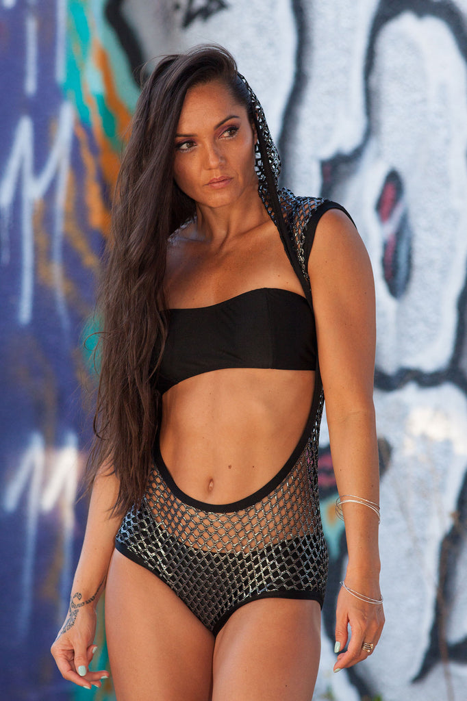 Sassy Hooded Silver And Black Net Romper