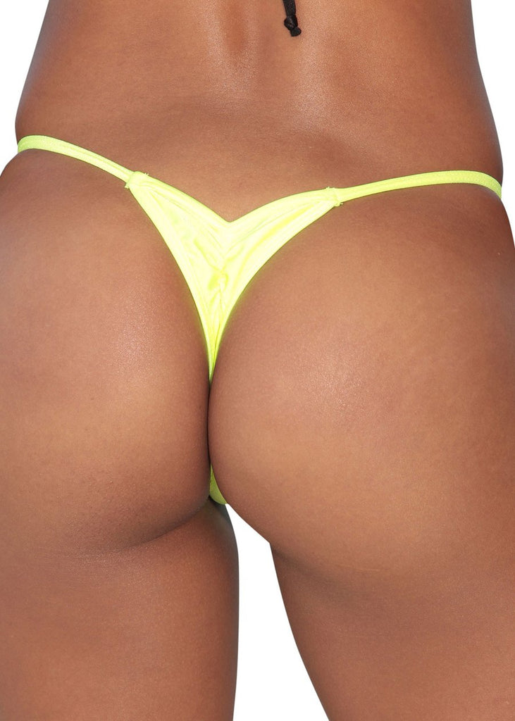 Neon Yellow Mini Scrunch Thong Bottom-Stripper Clothing