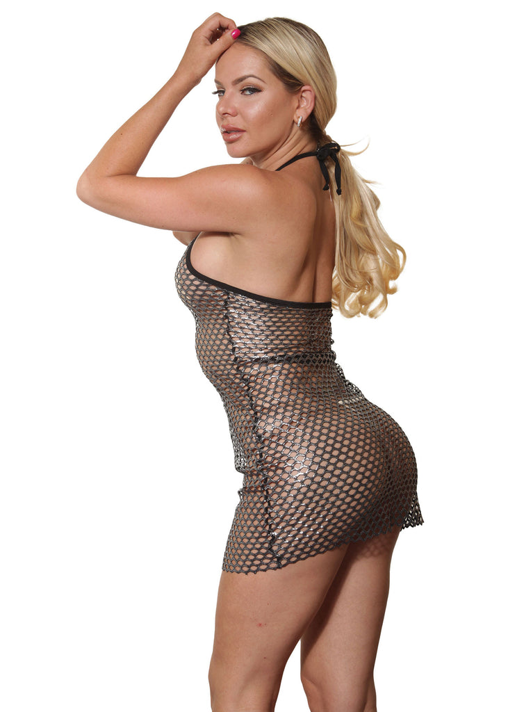 Sassy Black Open Fishnet Dress- sassyassyclothing