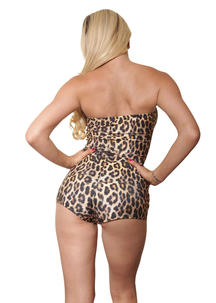 Leopard Print Off The Shoulder Romper-Sassy Assy Clubwear