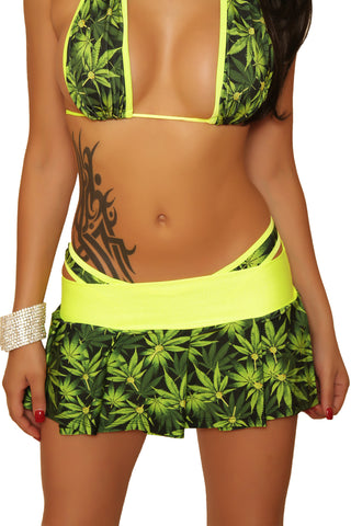 Marijuana Pleated Mini Skirt