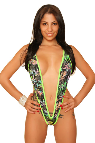 Marijuana Print Naked Slingshot Stripper Clothing