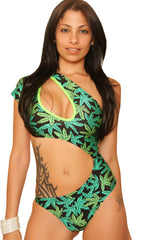 Marijuana Print Over The Shoulder Style Bodysuit-Clubwear