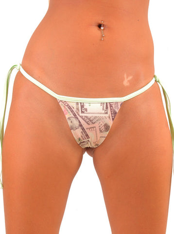 Money Print Tie Side Thong