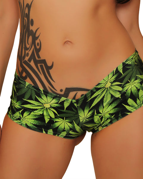 Basic Booty Shorts Marijuana Clothing
