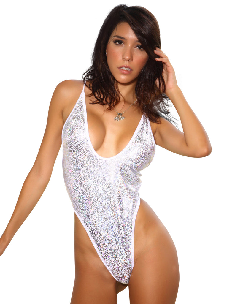 New High Cut Form Fitting Silver Metallic Bodysuit