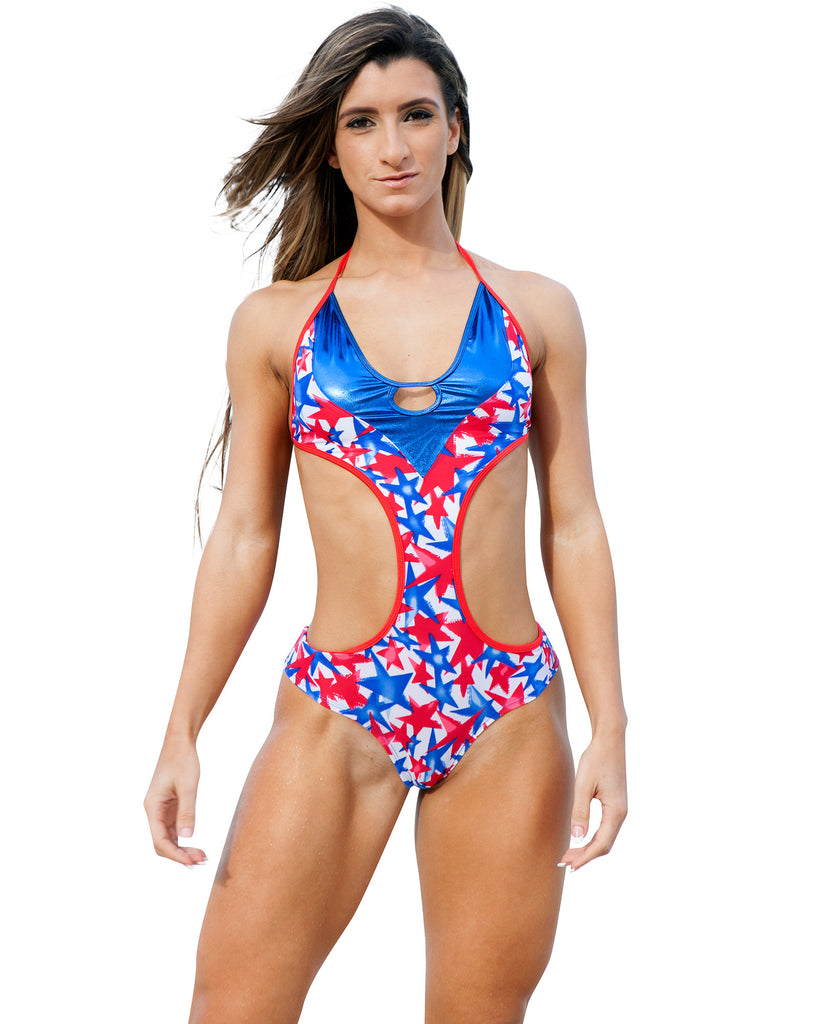 Red White And Blue Stars One Piece Monkini Swimwear