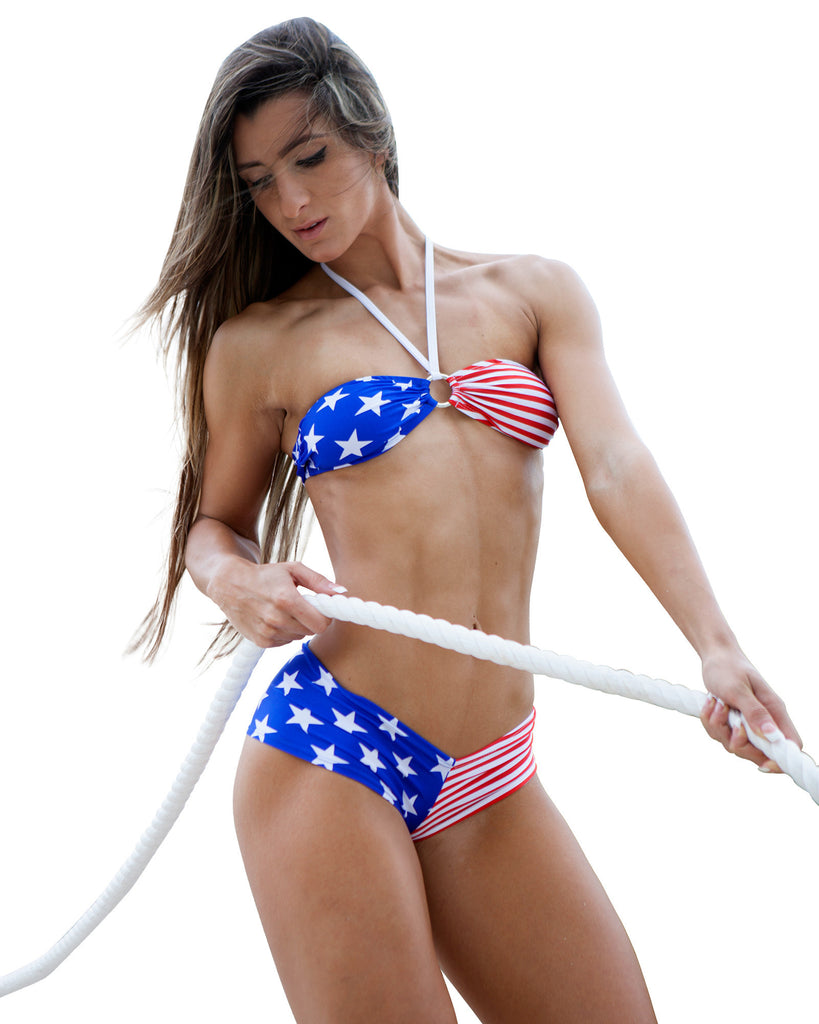 American Flag Bandeau Bikini 4th Of July Swimwear