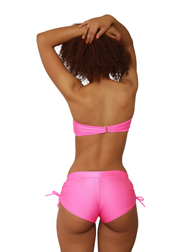 Cheeky Neon Pink Tie Side Shorts- Sassy Assy