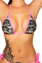 Camo Print Full Triangle Bikini Top