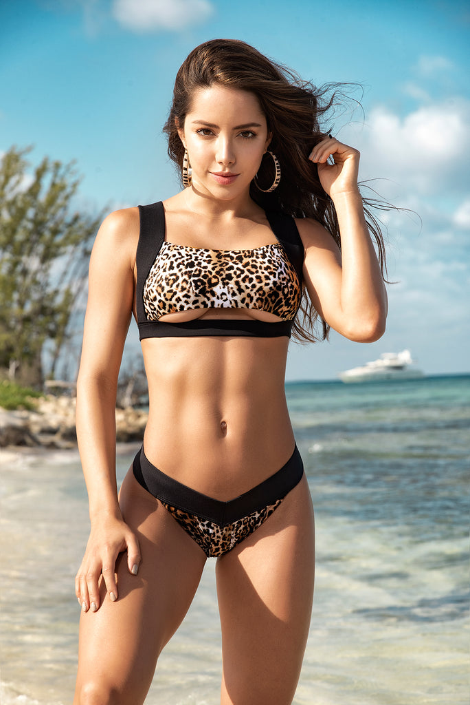 Two Piece Leopard Swimsuit With Thong Bottom