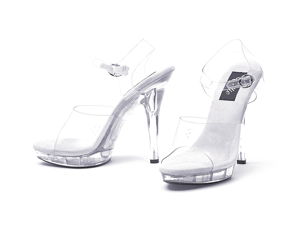 Ellie Clear Ankle Strap Sandal With 5 Inch Heel
