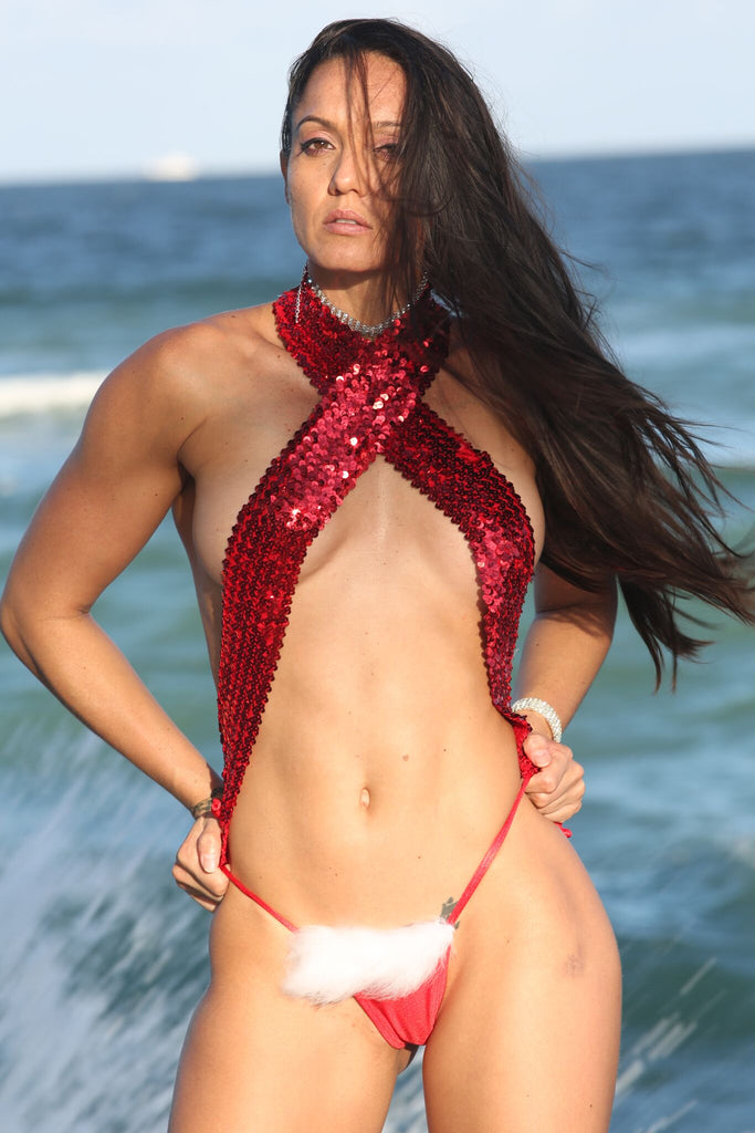 Sexy Santa Miami Beach Christmas Costume-Stripper Clothing