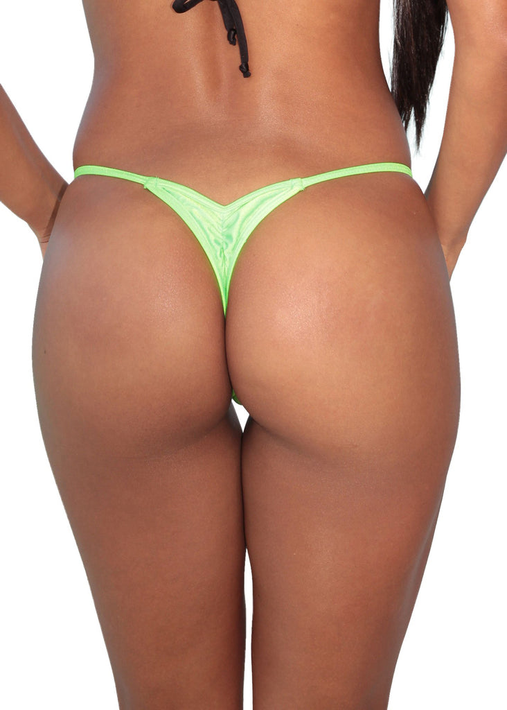 Neon Green Mini Scrunch Thong Bottom-Stripper Clothing