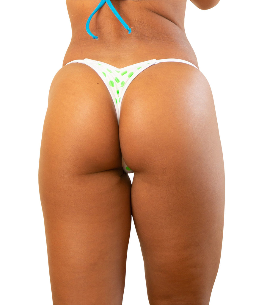 White And Green Polka Dot Mini Scrunch Thong Bottom Stage Legal Stripper Clothing