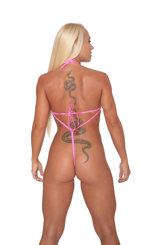 Pink Metallic Sheer Mesh Exotic Sling Shot-Stripper Clothes
