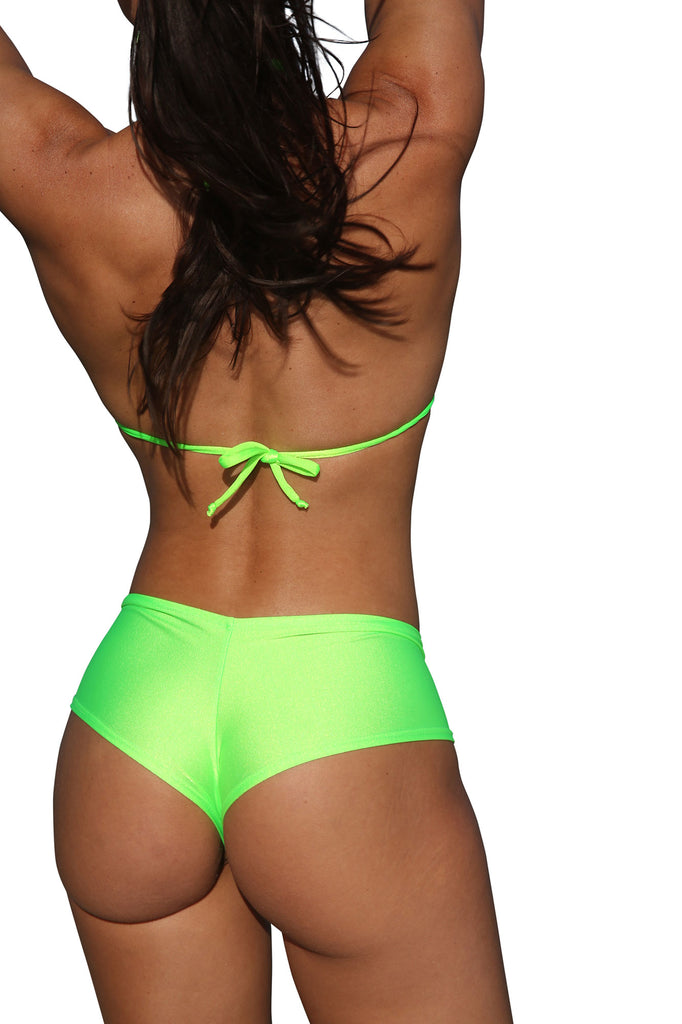 Neon Green Basic Cheeky Booty Shorts Stripper Clothes