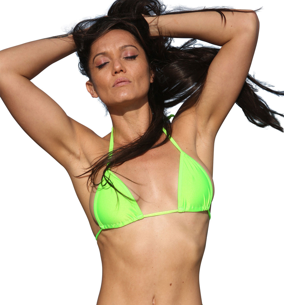 Neon Green Basic Curtain Triangle Bikini Top