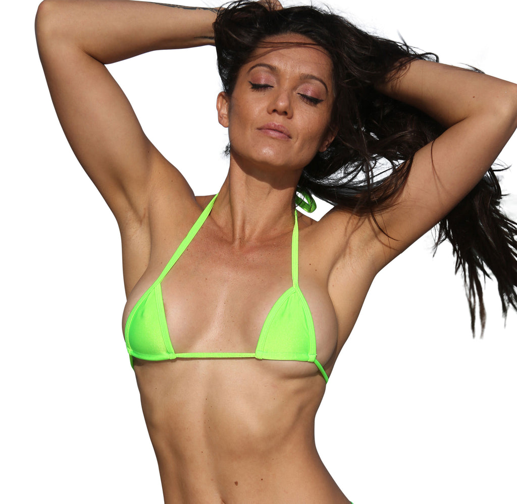 Neon Green Micro Mini Curtain Triangle Bikini Top