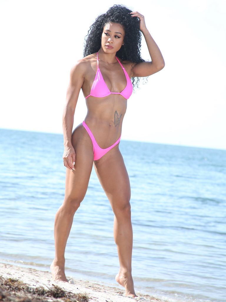 Sassy Assy Neon Pink Bikini Set With Cheeky High Leg Bottom