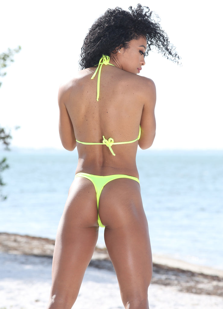 Sassy Assy Neon Yellow Bikini Set With Cheeky High Leg Bottom