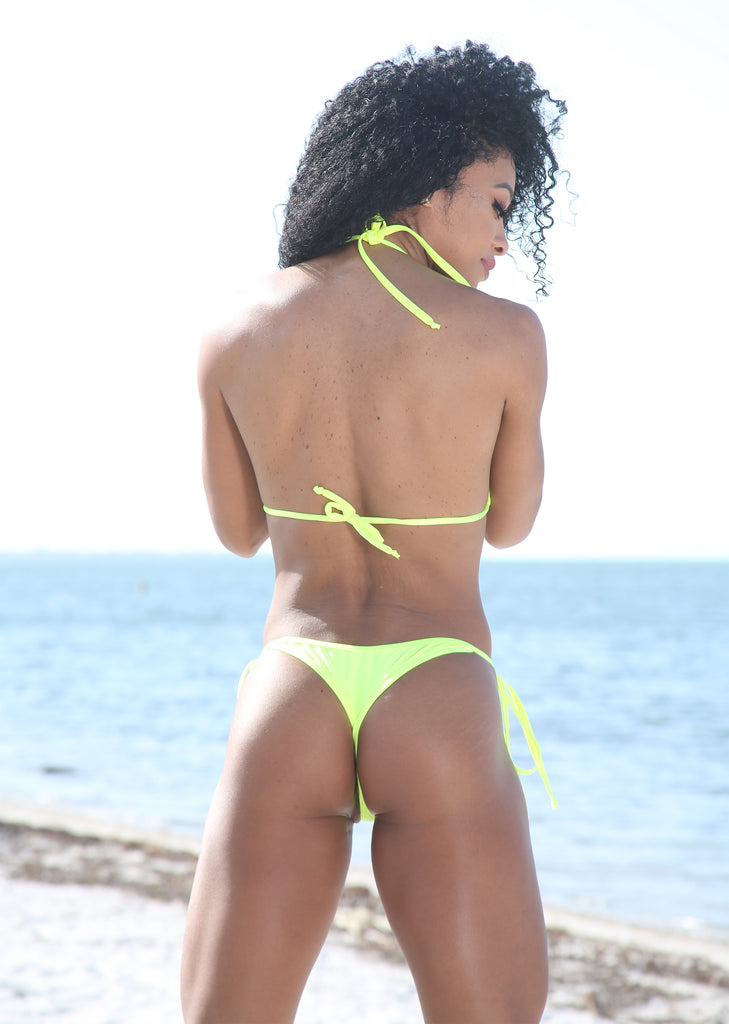 Sassy Assy Neon Yellow Bikini Set With Whale Tail Thong Bottom