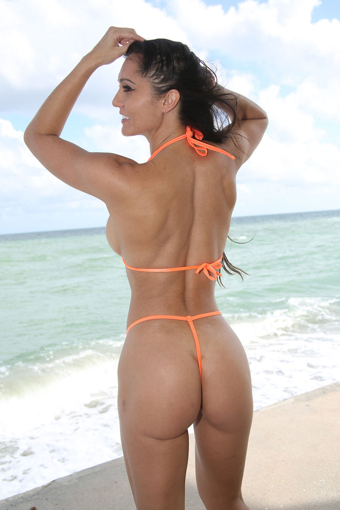 Sassy Solid Orange Extreme Teardrop G-String Bikini-Sexy Swimwear