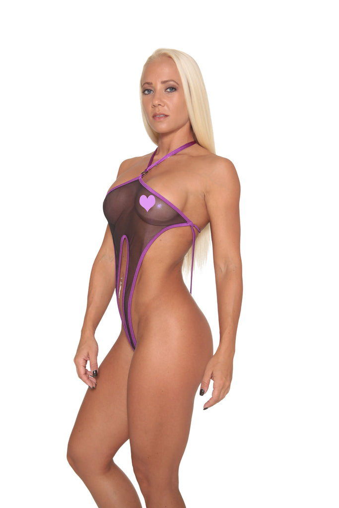 Purple Metallic Sheer Mesh Exotic Sling Shot-Stripper Clothes