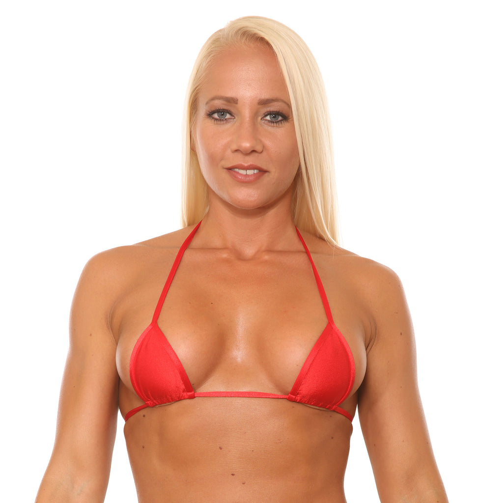 Red Micro Mini Curtain Triangle Bikini Top