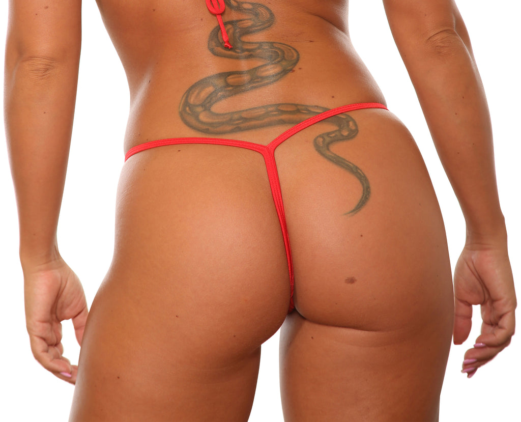 Sassy Assy Red V Back Stripper Thong