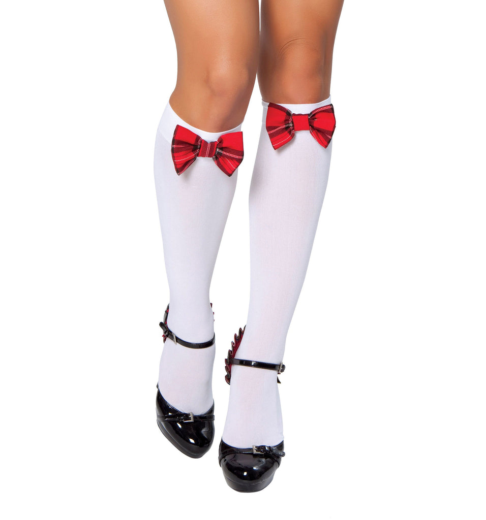 Knee High Stocking w/ Plaid Bows