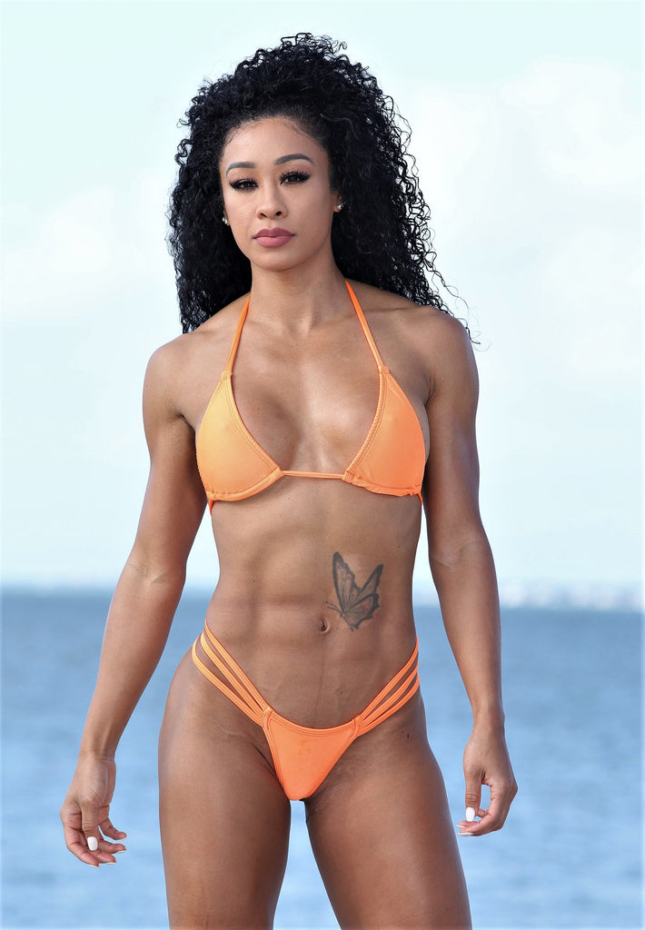 Sassy Assy Orange Bikini Set With 3 Band G String Bottom