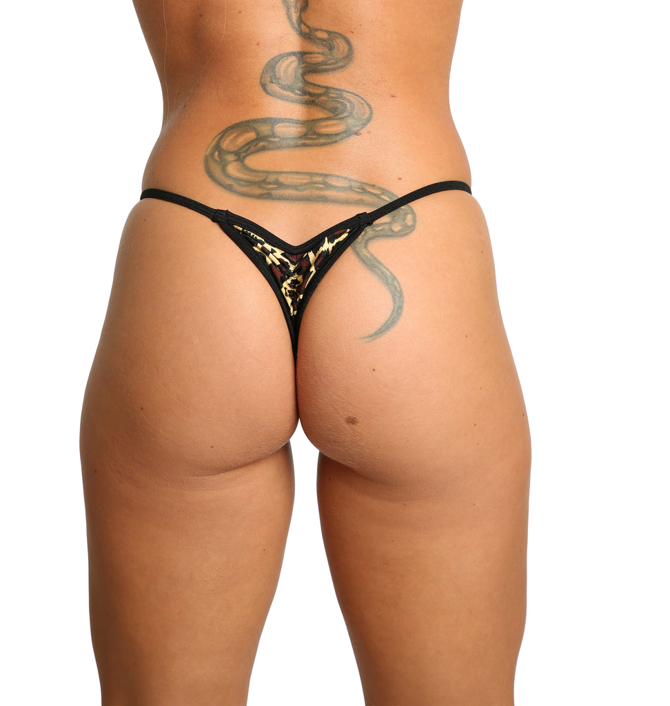 Sassy Assy Leopard Mini Scrunch Thong Bottom Stripper Clothing