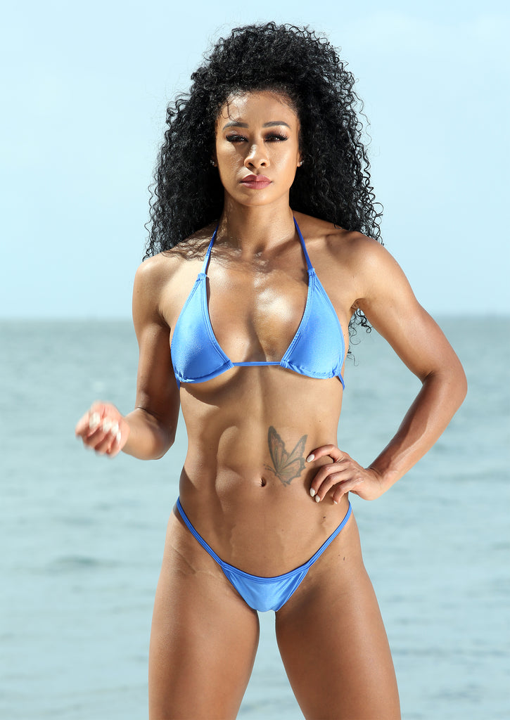 Sassy Assy Royal Blue Bikini Set With Mini Scrunch Thong Bottom