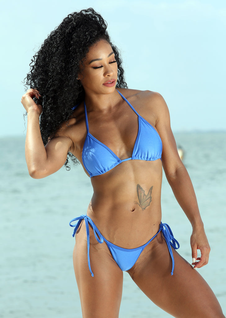 Sassy Assy Royal Blue Bikini Set With Whale Tail Thong Bottom