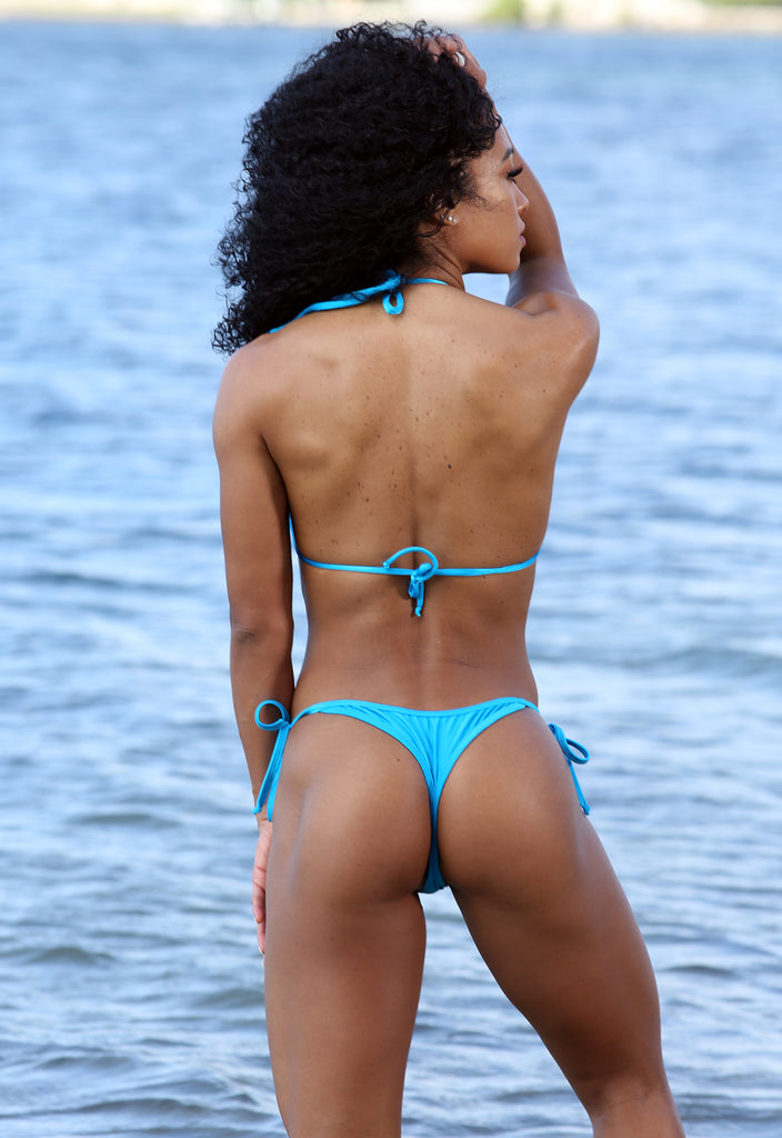 Sassy Assy Turquoise Bikini Set With Whale Tail Thong Bottom