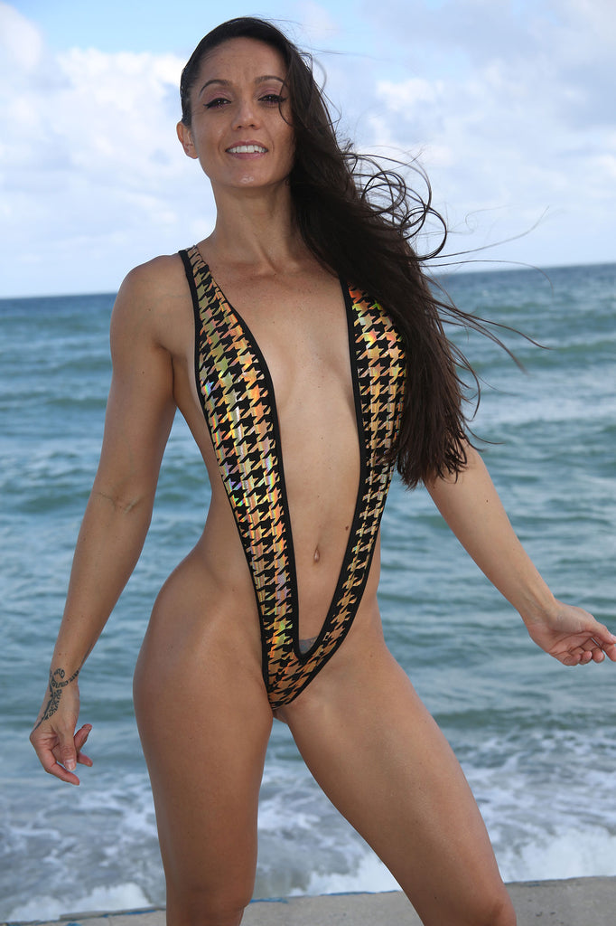 Sassy Gold-Black  Houndstooth Naked Slingshot Bikini-Stripper Clothing