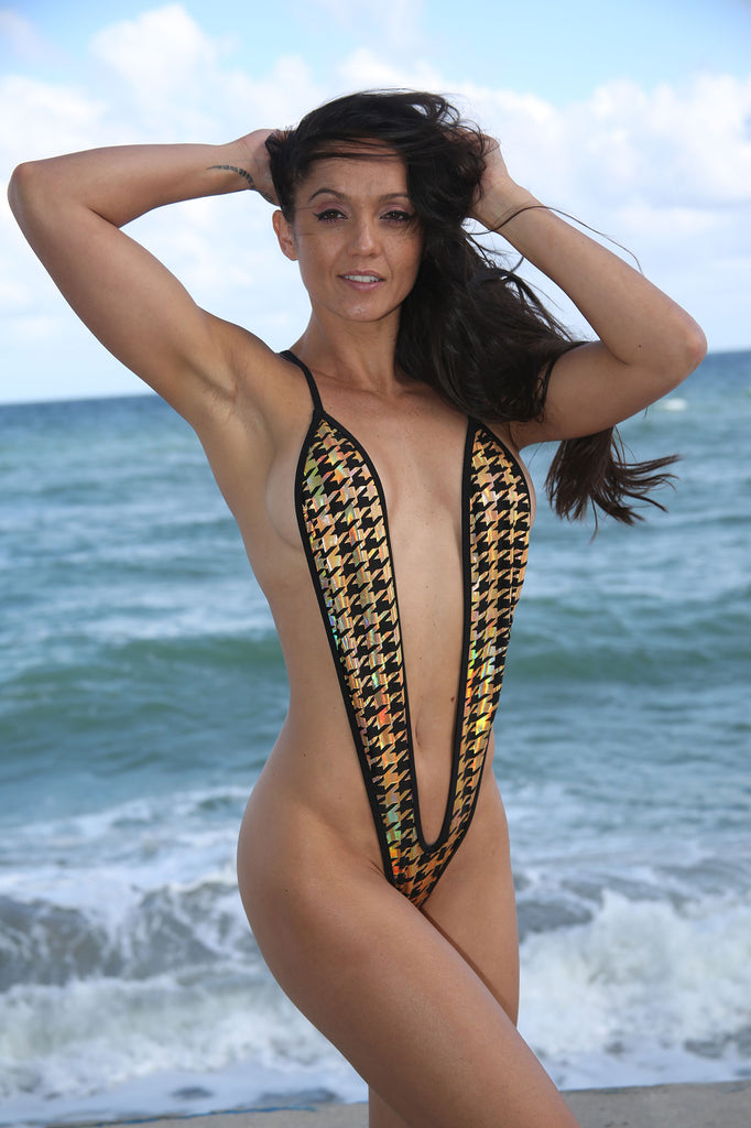Sassy Gold-Black Houndstooth Slingshot Bikini-Stripper Clothing