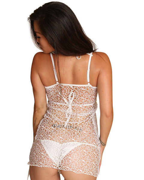 SexyWhite Mini Swimwear Cover Up- Beachwear