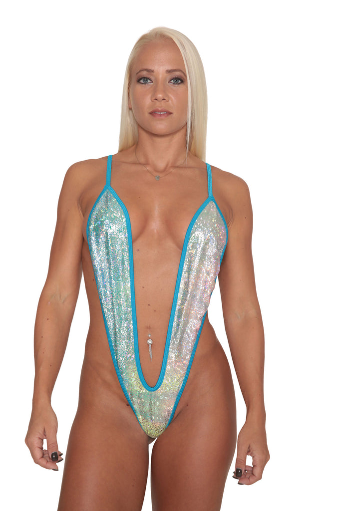 Silver Hologram Slingshot Bikini-Stripper Clothing