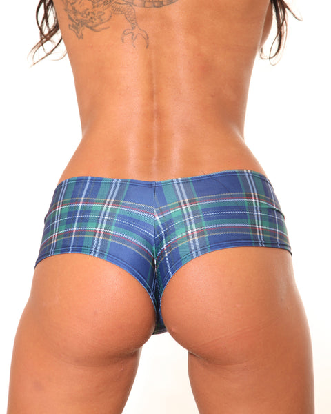 Plaid Print BASIC BOOTY SHORT-Stripper Clothing