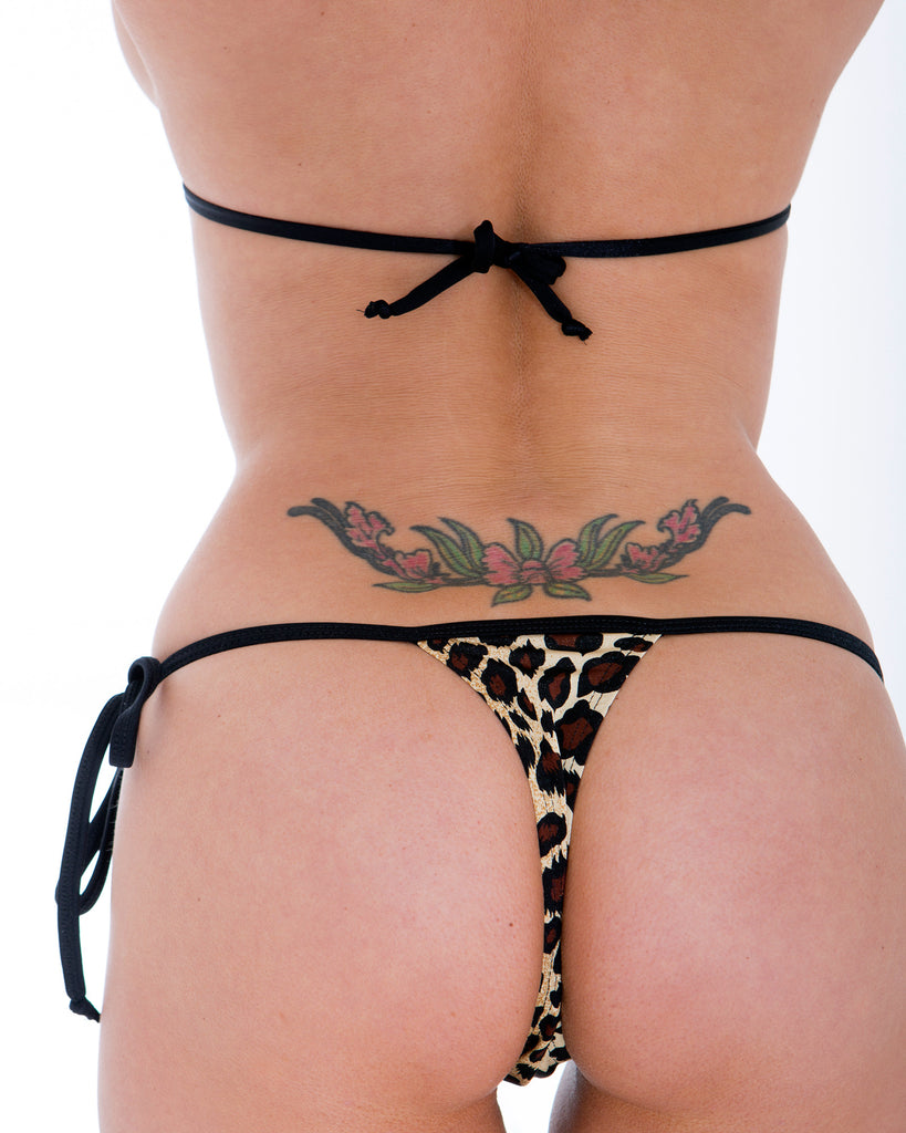Leopard Print Tie Side Thong Bikini Bottom