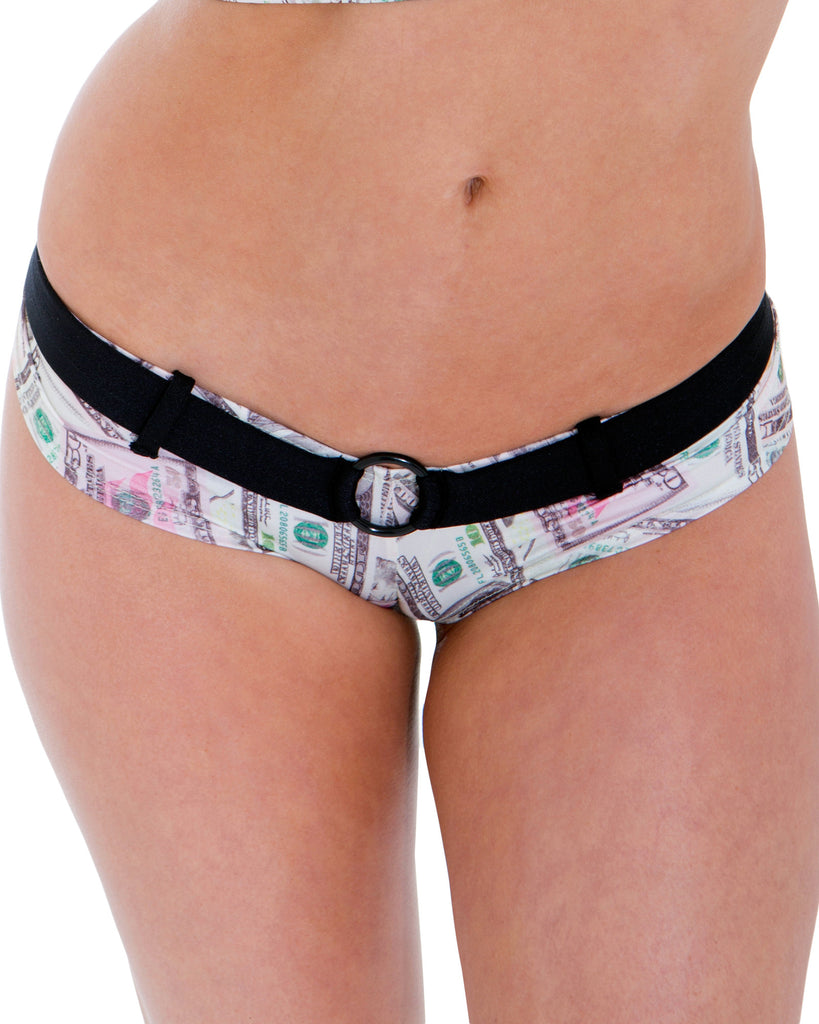 New Money Print Belted Booty Short By Sassy Assy